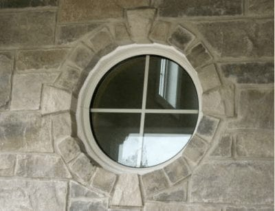 Circular decorative panel window, outside view