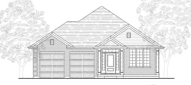 Schematic of the front view of a one storey house