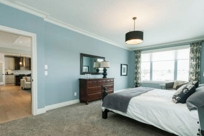 Master bedroom with dresser and bed