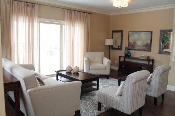 Comfortable living room near sliding doors to the outside